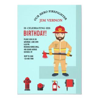 Fireman and Equipment Invitation