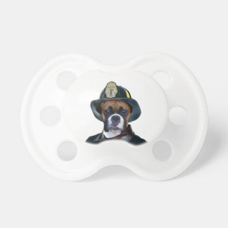 Fireman boxer dog baby pacifiers