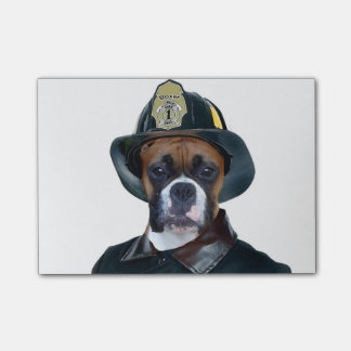 Fireman boxer dog post-it notes