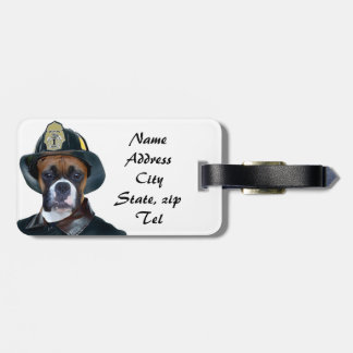 Fireman boxer luggage tag
