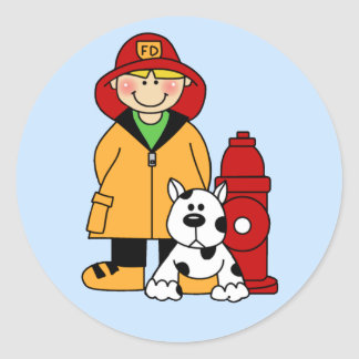 Fireman (Boy) Classic Round Sticker