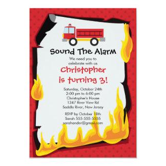 "Fireman Boy Firetruck Birthday Party 5"" X 7"" Invitation Card"