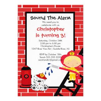 Fireman Boy Firetruck Birthday Party Invite