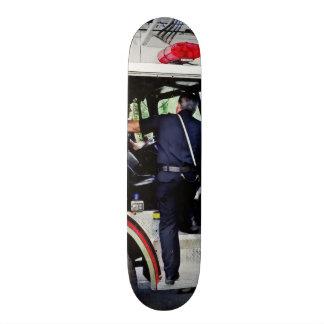 Fireman Climbing into Fire Truck Custom Skate Board