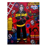 FIREMAN DAY OF THE DEAD POSTCARD