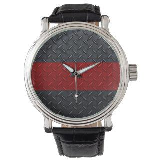Fireman Diamond Plate Thin Red Line Watch
