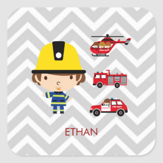 Fireman Emergency Vehicles on Chevron Square Sticker