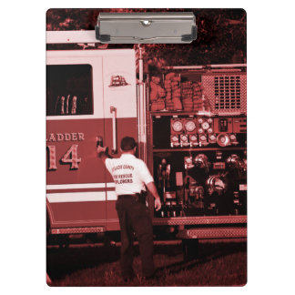 fireman entering truck burgundy colored clipboards