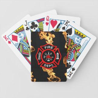 Fireman Fire Dept | Maltese Cross Logo Flames Poker Deck