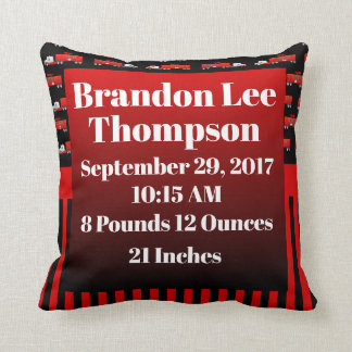 Fireman Fire Truck Red and Black Gradient Birth Throw Pillow