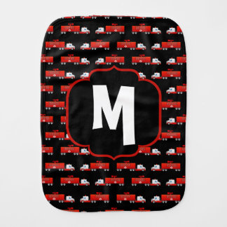 Fireman Fire Truck Red and Black Initial Firetruck Burp Cloth