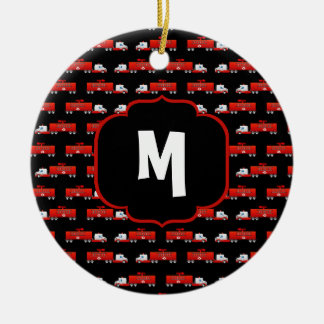 Fireman Fire Truck Red and Black Initial Firetruck Ceramic Ornament