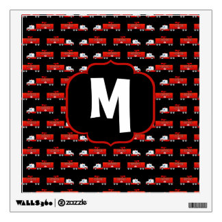 Fireman Fire Truck Red and Black Initial Firetruck Wall Decal