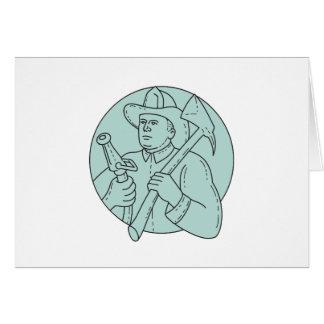 Fireman Firefighter Axe Hose Circle Mono Line Card