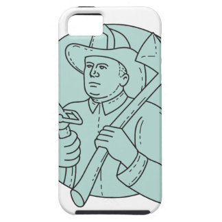 Fireman Firefighter Axe Hose Circle Mono Line iPhone 5 Covers