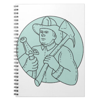 Fireman Firefighter Axe Hose Circle Mono Line Notebook