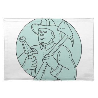 Fireman Firefighter Axe Hose Circle Mono Line Placemat