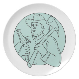Fireman Firefighter Axe Hose Circle Mono Line Plate
