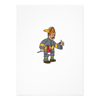 Fireman Firefighter Axe Thumbs Up Cartoon Personalized Invites