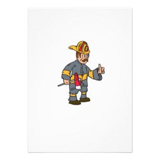Fireman Firefighter Axe Thumbs Up Cartoon Custom Invites