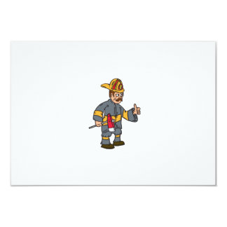 Fireman Firefighter Axe Thumbs Up Cartoon Personalized Invitations