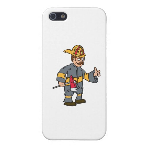 Fireman Firefighter Axe Thumbs Up Cartoon Case For iPhone 5/5S
