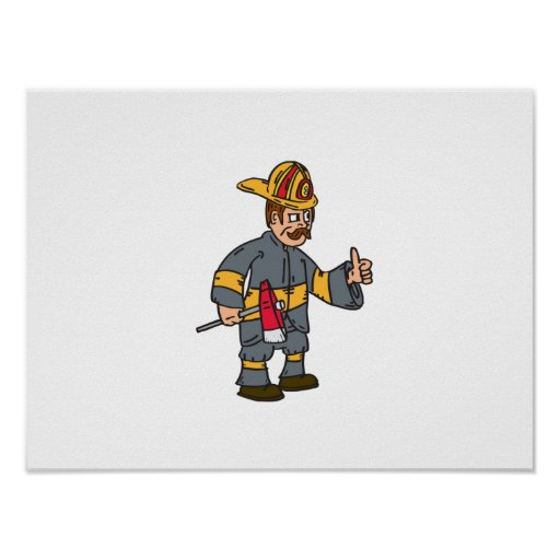 Fireman Firefighter Axe Thumbs Up Cartoon Print