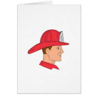 Fireman Firefighter Vintage Helmet Drawing Card