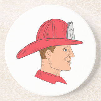 Fireman Firefighter Vintage Helmet Drawing Coaster
