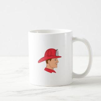 Fireman Firefighter Vintage Helmet Drawing Coffee Mug