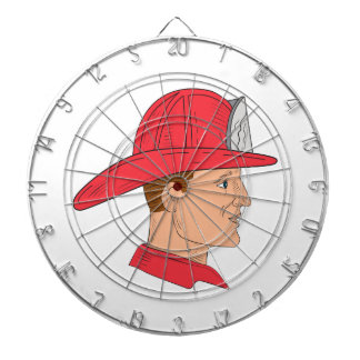 Fireman Firefighter Vintage Helmet Drawing Dartboard
