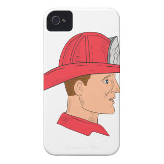 Fireman Firefighter Vintage Helmet Drawing iPhone 4 Case-Mate Case