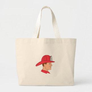 Fireman Firefighter Vintage Helmet Drawing Large Tote Bag