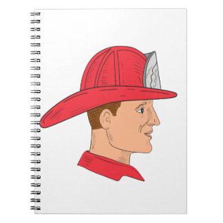 Fireman Firefighter Vintage Helmet Drawing Notebook