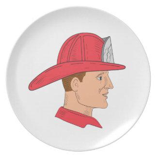 Fireman Firefighter Vintage Helmet Drawing Plate