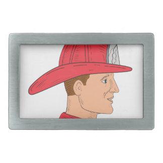 Fireman Firefighter Vintage Helmet Drawing Rectangular Belt Buckle
