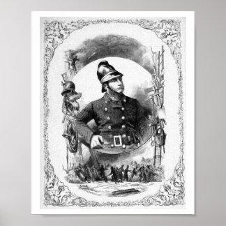 """""""Fireman/Firefighter"""" Vintage Illustration. Poster"""