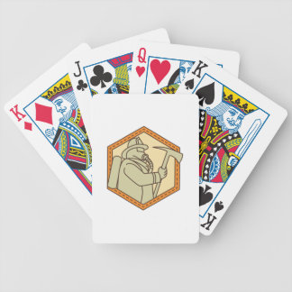 Fireman Holding Fire Axe Shield Mono Line Bicycle Playing Cards