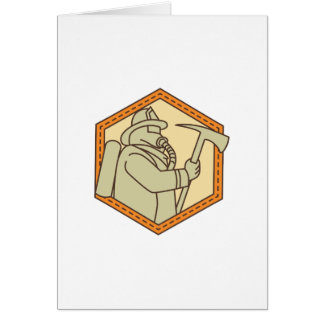 Fireman Holding Fire Axe Shield Mono Line Card