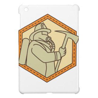 Fireman Holding Fire Axe Shield Mono Line iPad Mini Cover