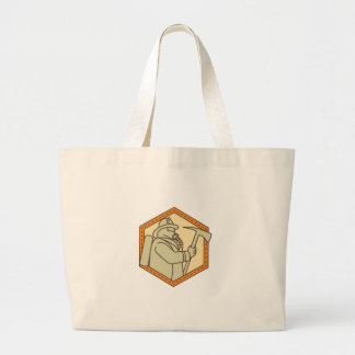 Fireman Holding Fire Axe Shield Mono Line Large Tote Bag