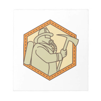 Fireman Holding Fire Axe Shield Mono Line Notepad