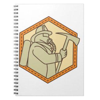 Fireman Holding Fire Axe Shield Mono Line Spiral Notebook