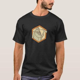 Fireman Holding Fire Axe Shield Mono Line T-Shirt