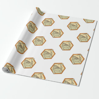 Fireman Holding Fire Axe Shield Mono Line Wrapping Paper