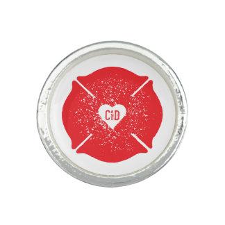 Fireman Love Firefighter Heart Logo Personalized Rings