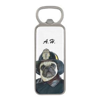 Fireman pug dog bottle opener magnetic bottle opener