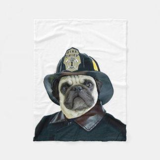 Fireman Pug Dog Fleece Blanket