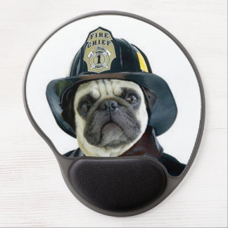 Fireman Pug Dog Gel Mouse Pad