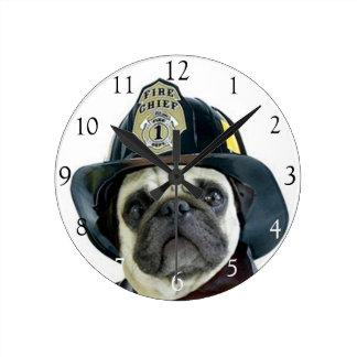 Fireman pug dog round clock